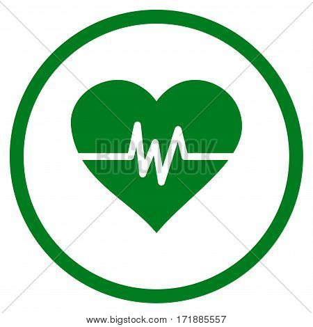 Heart Pulse rounded icon. Vector illustration style is flat iconic bicolor symbol inside circle green and gray colors white background.