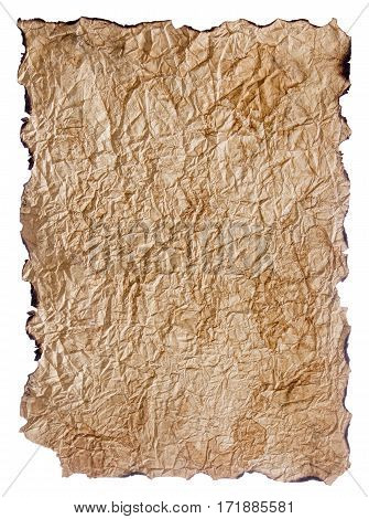 texture of crumpled brown paper with burnt edges isolated on white background