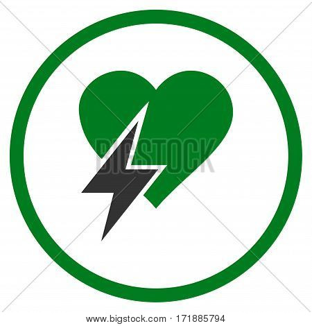Heart Shock rounded icon. Vector illustration style is flat iconic bicolor symbol inside circle green and gray colors white background.