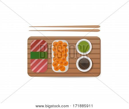 Sushi roll icon food and japanese gourmet seafood. Traditional seaweed fresh raw food vector illustration. Asian breakfast cuisine restaurant wasabi delicious.