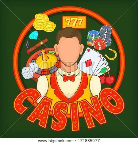 Casino games concept set. Cartoon illustration of casino games vector concept for web