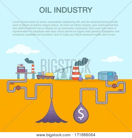 Oil industry cycle concept set. Cartoon illustration of oil industry cycle vector concept for web