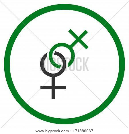 Lesbian Love Symbol rounded icon. Vector illustration style is flat iconic bicolor symbol inside circle green and gray colors white background.
