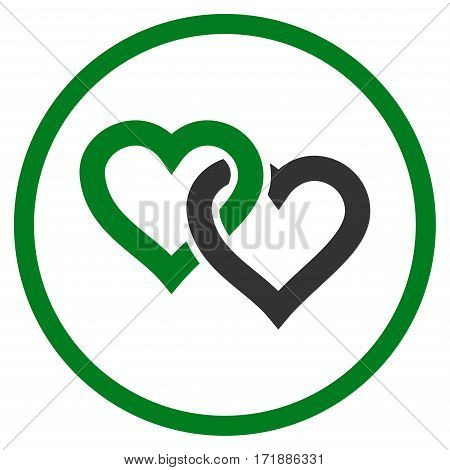 Linked Hearts rounded icon. Vector illustration style is flat iconic bicolor symbol inside circle green and gray colors white background.