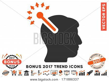 Orange And Gray Optical Neural Interface pictograph with bonus 2017 year trend elements. Vector illustration style is flat iconic bicolor symbols white background.