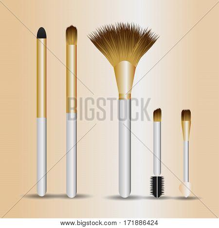 set of make-up brushes on pink gradien background
