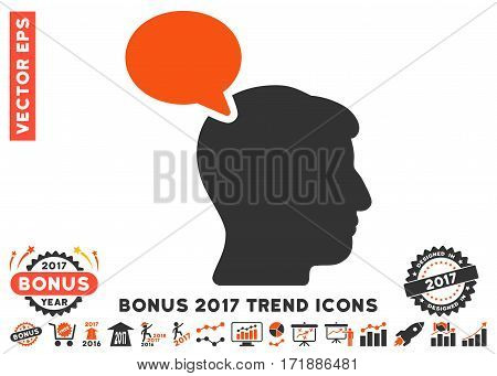 Orange And Gray Person Opinion icon with bonus 2017 year trend elements. Vector illustration style is flat iconic bicolor symbols white background.