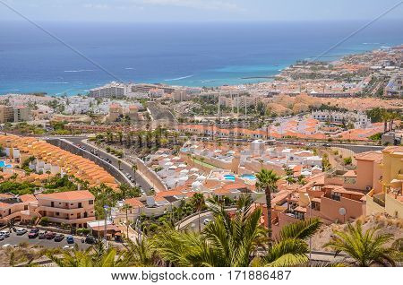 picturesque outstanding landscape of beautiful resort costa adeje on tenerife, canary islands, spain