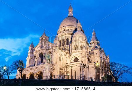 The Sacre Coeur basilica in the evening Paris France.