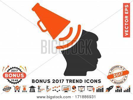 Orange And Gray Propaganda Megaphone pictograph with bonus 2017 trend design elements. Vector illustration style is flat iconic bicolor symbols white background.