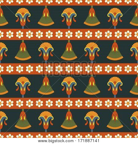 Vector seamless egyptian pattern with flowers and Cyperus. . Suitable for web backgrounds, textiles and wrapping paper.