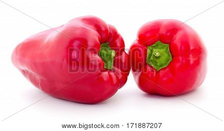 Two red peppers isolated on white background.