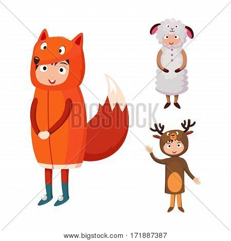 Kids different costumes isolated vector illustration. Playful character spooky baby superhero sheep and deer fox. Children party funny clothes.