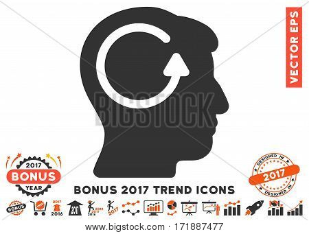 Orange And Gray Refresh Head Memory pictograph with bonus 2017 trend pictograph collection. Vector illustration style is flat iconic bicolor symbols white background.