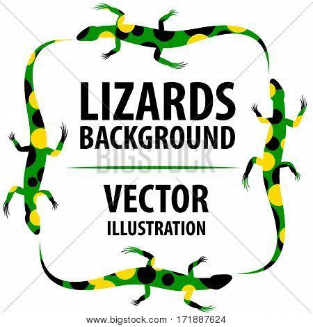 Background with lizards. Cartoon flat characters. Vector Image.