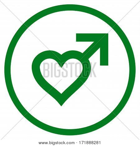 Male Heart rounded icon. Vector illustration style is flat iconic bicolor symbol inside circle green and gray colors white background.