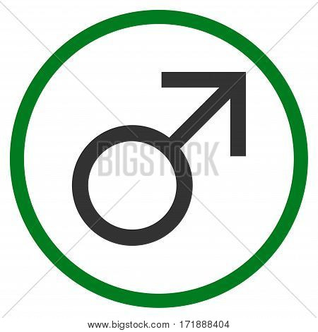 Mars Male Symbol rounded icon. Vector illustration style is flat iconic bicolor symbol inside circle green and gray colors white background.