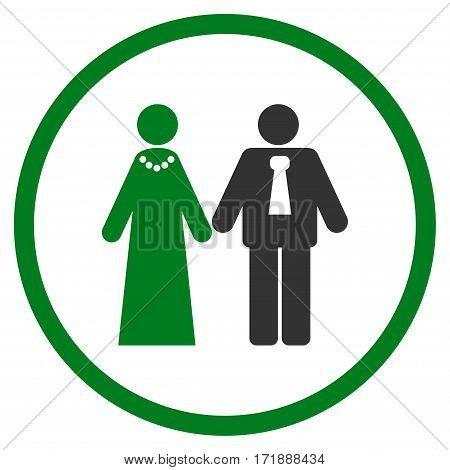 Newlyweds rounded icon. Vector illustration style is flat iconic bicolor symbol inside circle green and gray colors white background.