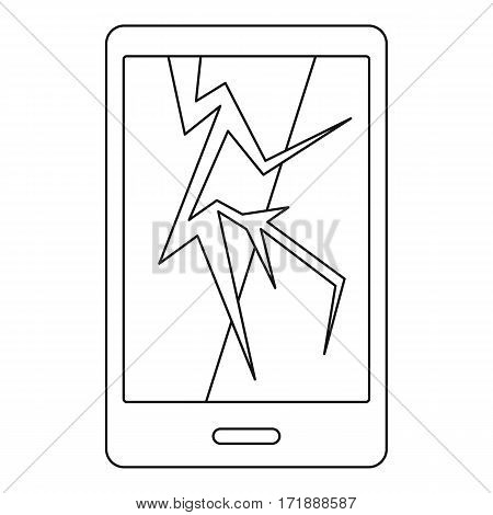 Cracked phone icon. Outline illustration of cracked phone vector icon for web