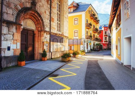Buildings and streets. Beauty world. Hallstatt Austria