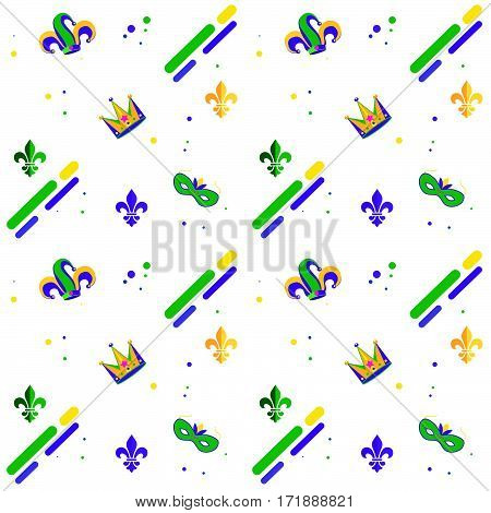 Carnival, Festival, Masquerade decorative pattern design. Mardi Gras Carnival pattern with fleur-de-lis, crown, carnival mask, confetti. Mardi Gras endless background