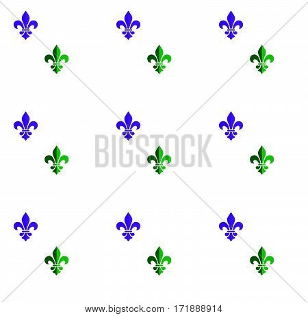 Mardi Gras Carnival pattern with fleur-de-lis emblem symbol. Mardi Gras endless background, texture, wrapper. Vintage ornament