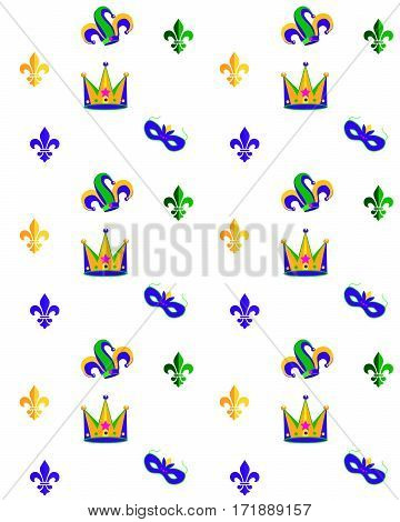 Carnival, Festival, Masquerade decorative pattern design. Mardi Gras Carnival pattern with fleur-de-lis, crown, carnival mask. Vector illustration. Vintage ornament