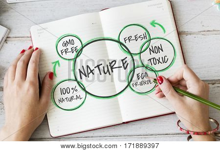 Nature Sustainable Healthy Graphic Diagram Word