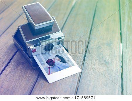Photo Gradient Style with Vintage retro instant photo camera