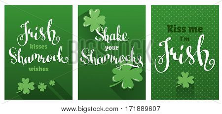 Greetings cards set for St. Patrick's Day. Vector templates with clovers and a hand-drawn lettering