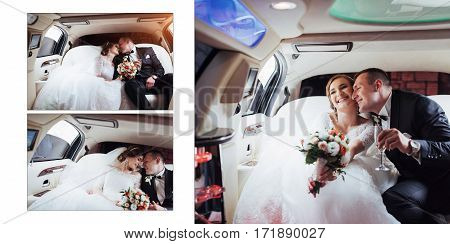 Beautiful young couple smiling happily on your wedding day, sitting in the car. Classic white leather wedding photo album.