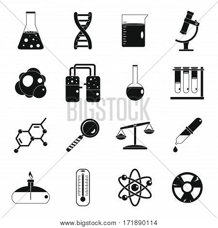 Chemical laboratory icons set. Simple illustration of 16 chemical laboratory vector icons for web