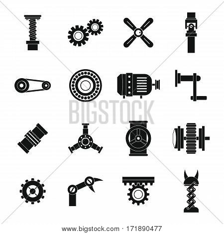 Techno mechanisms kit icons set. Simple illustration of 16 techno mechanisms kit vector icons for web