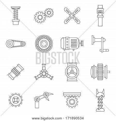 Techno mechanisms kit icons set. Outline illustration of 16 techno mechanisms kit vector icons for web