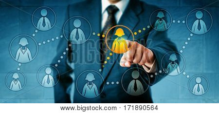 Human resources manager selecting one female white collar worker icon among many employee symbols. Concept for professional social networking employee work relations and headhunting in recruitment.