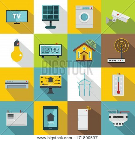 Smart home house icons set. Flat illustration of 16 smart home house vector icons for web