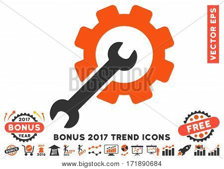 Orange And Gray Setup Tools pictograph with bonus 2017 trend pictograms. Vector illustration style is flat iconic bicolor symbols white background.