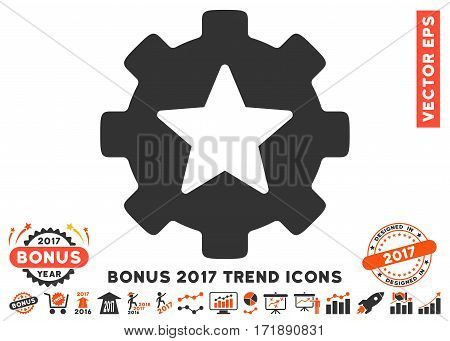 Orange And Gray Star Favorites Options Gear icon with bonus 2017 trend pictures. Vector illustration style is flat iconic bicolor symbols white background.