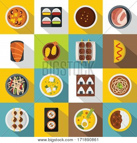 Japan food icons set. Flat illustration of 16 japan food vector icons for web