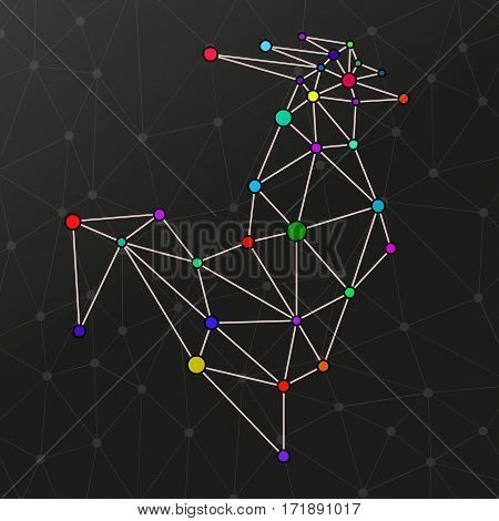Abstract rooster with dots and lines polygonal style. Symbol of Chinese New Year 2017