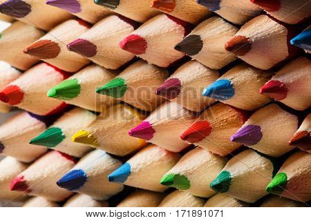 close up of an assortment of colored pencils tips. Background of colorful pencils. Creative idea and concept. Drawing and painting. School and education. Art.