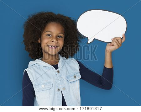 African Kid Speech Bubble Concept