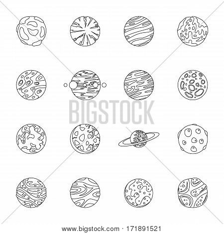 Fantastic planets icons set. Outline illustration of 16 fantastic planets vector icons for web