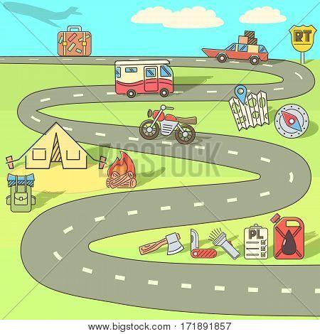 Trip adventure concept set. Cartoon illustration of trip adventure vector concept for web