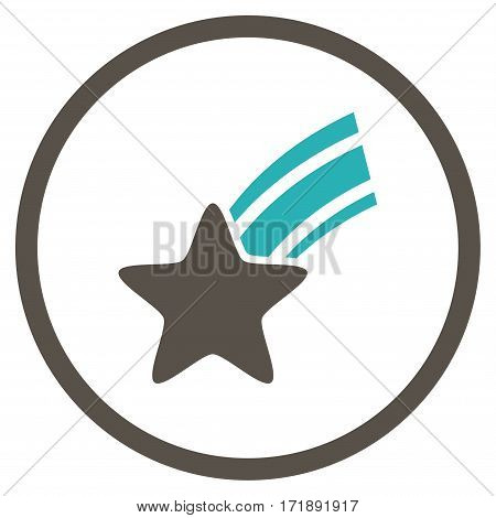 Falling Star rounded icon. Vector illustration style is flat iconic bicolor symbol inside circle grey and cyan colors white background.