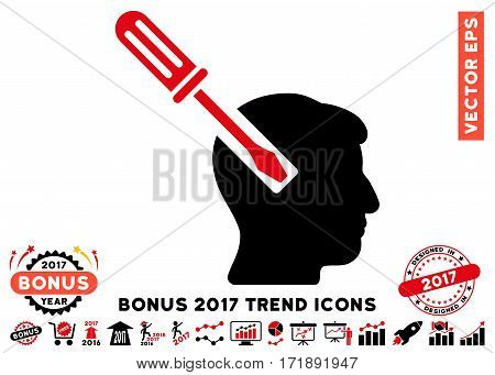 Intensive Red And Black Head Screwdriver Tuning pictogram with bonus 2017 trend elements. Vector illustration style is flat iconic bicolor symbols white background.