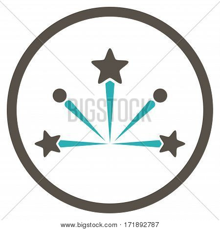 Fireworks Bang rounded icon. Vector illustration style is flat iconic bicolor symbol inside circle grey and cyan colors white background.