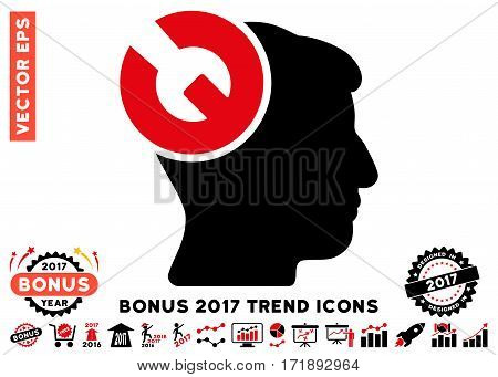 Intensive Red And Black Head Surgery Wrench pictograph with bonus 2017 trend pictures. Vector illustration style is flat iconic bicolor symbols white background.