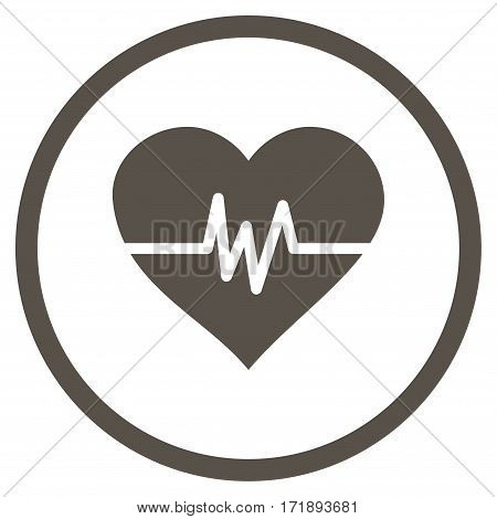 Heart Pulse rounded icon. Vector illustration style is flat iconic bicolor symbol inside circle grey and cyan colors white background.