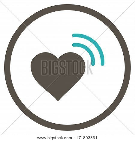 Heart Radio Signal rounded icon. Vector illustration style is flat iconic bicolor symbol inside circle grey and cyan colors white background.